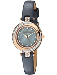 Armitron Womens 75/5542GMRGGY Swarovski Crystal Accented Rose Gold-Tone and Grey Leather Strap Watch