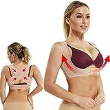 Joyshaper Back Support Vest Top Bra Posture Corrector For Women Push Up Chest Breast Hunchback Relief Humpback Correction Belt Band Brace Up Back Upper Shoulder Shapewear Body Shaper X Strap(Beige,XL)