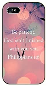 Be patient. God isn't finished with you yet - Psalms 1:6 - Pink - Bible verse iPhone 5 / 5s black plastic case / Christian Verses