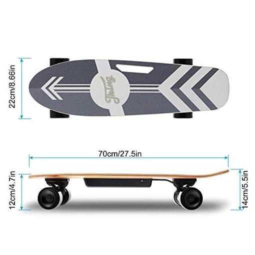 Caroma 70 cm Skateboard électrique, Skateboard électrique avec Moteur, Skateboard électrique, Planche électrique, Planche en Bois d'érable, Moteur 350 W | Portée 7 km, Max. Vitesse : 20 km/h.