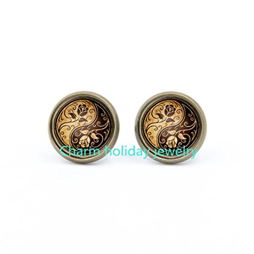 Ying Yang Earrings Tile Earrings Millefiori Jewelry Ying Yang Jewelry Tile Jewelry Silver Jewely Silver Earrings Beaded Jewelry Yin and Yang,flower earrings,Rose Earrings (Millefiori Rose)