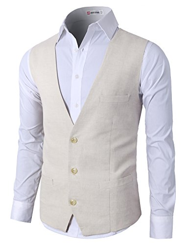 H2H Men's Easy Care Linen Blend Vest Beige US XL/Asia 2XL (CMOV039) by H2H