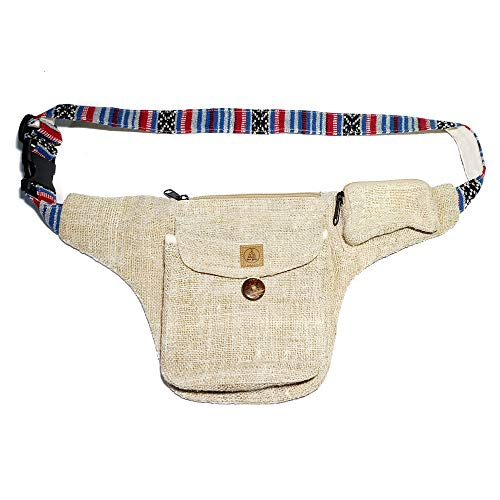 - Natural Hemp Fanny Pack - Comfortable Hip Waist Bag with Adjustable Belt - Men & Women Money Bum Bags for Festivals, Travel & Hiking - Hippie/Sling/80s/Stripped/Handmade Boho Fanny Packs