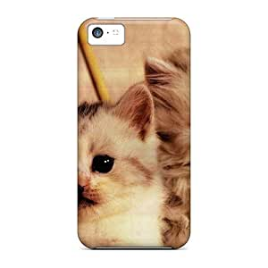 Hard Plastic Iphone 5c Case Back Cover,hot Two Kittens In A Knitting Basket Case At Perfect Diy