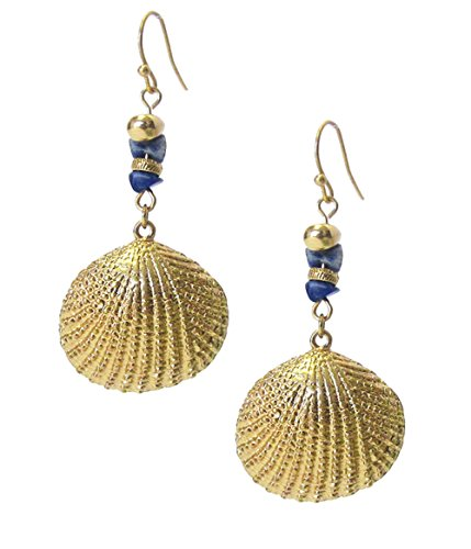 Long Gold-Tone Ocean Life Sea Shell and Variegated Blue Faux-Stone Dangle Drop Earring 2 ()