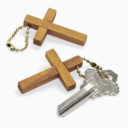 12 Wooden Cross Key Chains]()