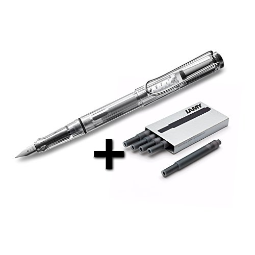 Lamy Vista Fountain Pen (12F) Transparent & 5 Black Ink (Lamy Vista Fountain Pen)