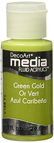 Deco Art Media Fluid Acrylic Paint, 1-Ounce, Green Gold