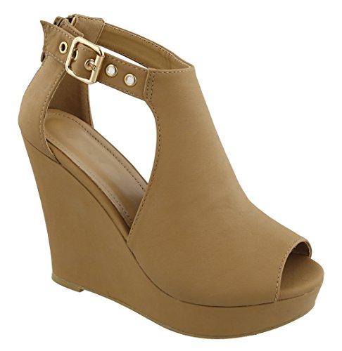 's MVE Tan c Women 5 Cut Shoes Buckle Black Size Open Out Toe 6 Zapatos Platform ErqwE61