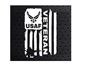 Vinyl Decal Sticker White 3.0 x 4.6 inches Distressed Flag United States from U$tore