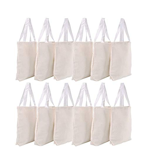"Canvas Tote Bags - Bulk 12 Pack 13""x11"" Fabric Blank Tote Bags, Natural Cotton for DIY Crafts, Gift Bag and Wedding, Birthday, Promotion Giveaways, or Reusable Grocery Bag by Bedwina from Bedwina"