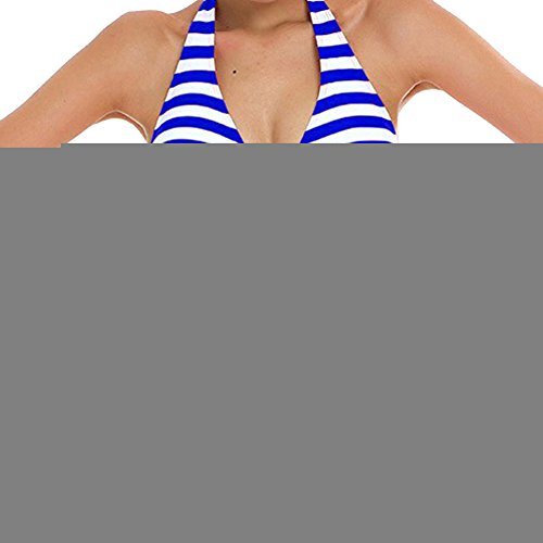 Conjunto de Bikini Mujeres Traje de Baño Rayado Beachwear Bañador Azul