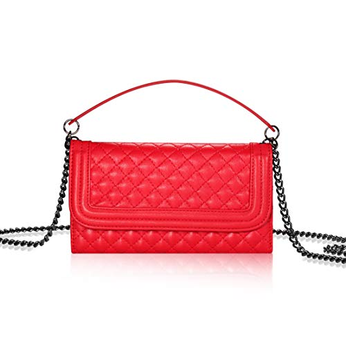Bosam iPhone 6p 6s Plus 7 Plus 8 Plus case Crossbody Wallet Cellphone Pouch with Chain Strap Card Holders for Woman(Red)