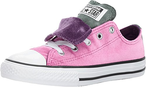 Converse Kids All Star Low K Double Tongue Pink Sapphire Deep Emerald Size (Converse Double Tongue)