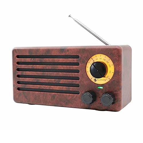 YSEECHENS Retro Desktop FM Radio and Portable Stereo Bluetooth Speakers with Enhanced Bass Resonator, FM Radio, Built-in Mic, 3.5 mm Audio Jack, Support TF Card/Micro SD Card and USB Input