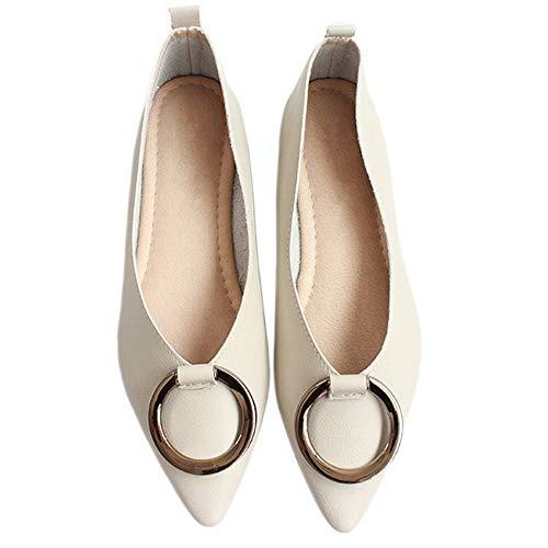 otoño UE Zapatos Trabajo Zapatos Baja 36 FLYRCX Oficina Primavera de Suave señaló Zapatos bajo Fondo de de Suave Planos de de de tacón Metal Hebilla señoras de y EU Boca Antideslizantes 39 Maternidad vgEqgA