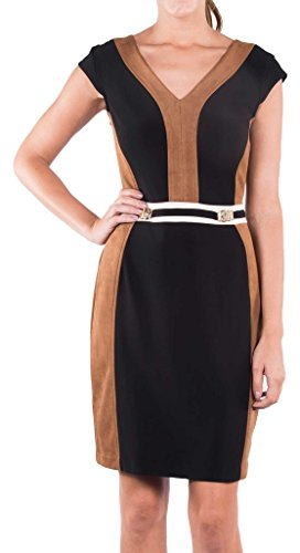 Joseph Ribkoff Black & Brown Faux Suede Belted Dress Style 164449 - Size 10 by Joseph Ribkoff