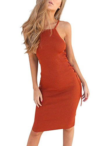BerryGo Women's Sexy Halter Lace Up Side Hollow Out Knit Sweater Bodycon Dress (Orange,One Size)