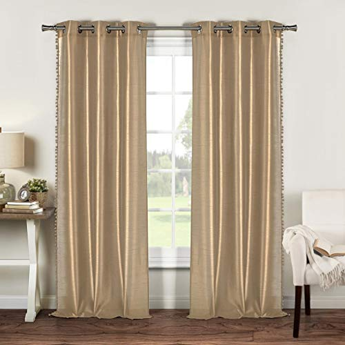 Duck River Textiles - Bali Solid Faux Silk Grommet Top Window Curtains for Living Room & Bedroom - Assorted Colors - Set of 2 Panels (54 X 96 Inch - Mocha Brown)