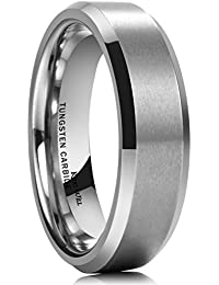 king will basic 6mm wedding band for men tungsten carbide engagement ring comfort fit beveled edges - Black Wedding Rings For Men