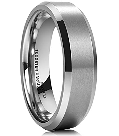 King Will BASIC 6MM Wedding Band For Men Tungsten Carbide Engagement Ring Comfort Fit Beveled Edges - Heavy Mens Wedding Band