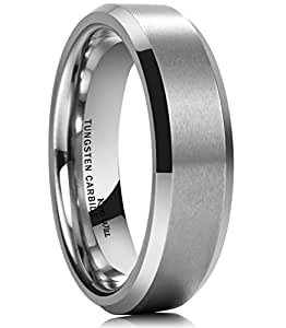King Will 6MM Wedding Band For Men Tungsten Carbide Engagement Ring Comfort Fit Beveled Edges (5)