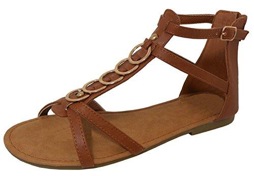- Cambridge Select Women's Open Toe Crisscross T-Strap O-Ring Back Zip Flat Sandal,8.5 B(M) US,Tan PU