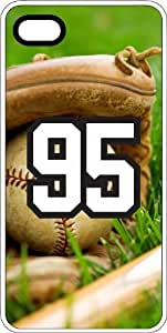 Baseball Sports Fan Player Number 95 White Plastic Decorative iPhone 5/5s Case