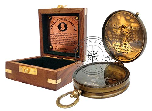"""Hanzla Collection 3"""" Maritime Nautical Brass Victorian Pocket Compass with Decorative Wooden Box"""