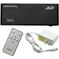 Optimal Shop HDMI Switch 5 in 1 out with IR Wireless remote control and AC Power Adapter,HDMI V1.4 Supports 4K x 2K Full HD 3D 1080P