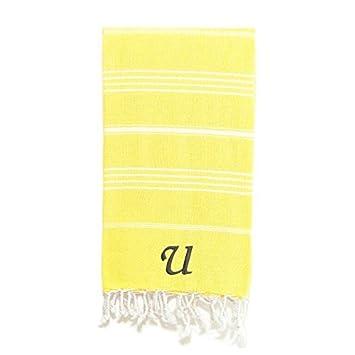 Auténtico Hotel y Spa auténtico Pestemal Fouta Original amarillo y blanco rayas algodón turco toalla de baño/playa con monograma inicial L: Amazon.es: Hogar