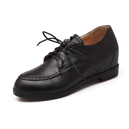 Allhqfashion Dames Ronde Dichte Neus Kitten-hakken Zacht Materiaal Stevige Veterschoenen Pumps-schoenen Zwart