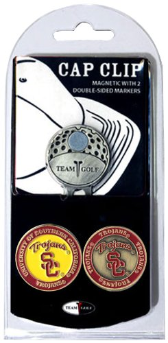 (Team Golf NCAA USC Trojans Golf Cap Clip with 2 Removable Double-Sided Enamel Magnetic Ball Markers, Attaches Easily to)