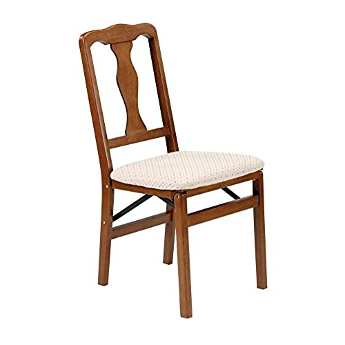 Queen Anne Wood Folding Chair In Warm Fruitwood Finish   Set Of 2