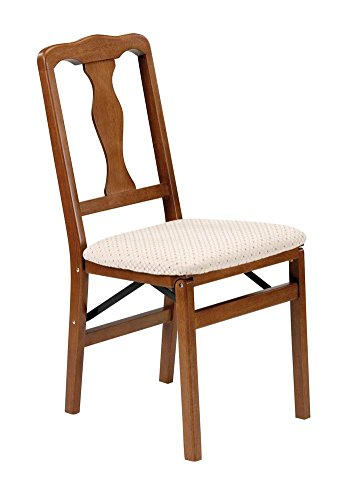 Queen Anne Wood Folding Chair in Warm Fruitwood Finish - Set of