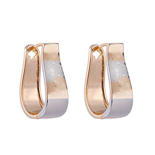 XZP U Shaped Earrings Gold Plated Copper Two Tone Huggie Earrings