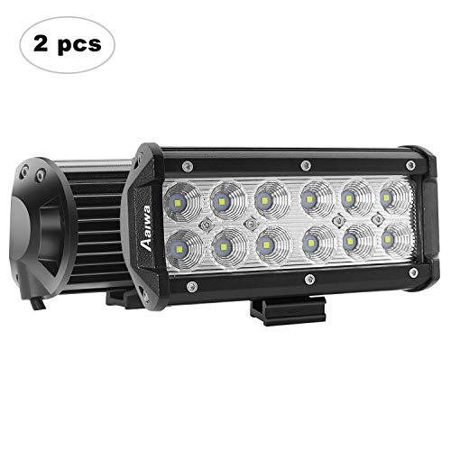 (LED Light Bar AAIWA 7Inch 36W Flood Led Pod Lights Off Road Lights Driving Fog Light Led Work Light for Truck,Car,ATV,SUV,Jeep,Boat Light, 2 Years Warranty)