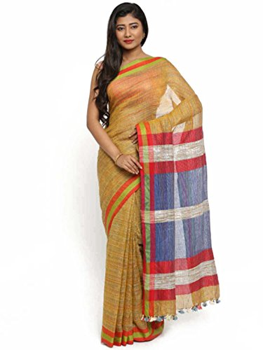 Gocoop Export Indian Yellow Jute Handloom Handicrfats Design Cotton Woven Saree Bhagalpuri qEErw5