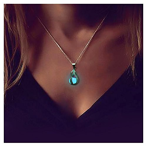 Wowastyle Bead Charm Fluorescent Necklace Luminous Pendants Chain Necklace Jewelry Gift ()