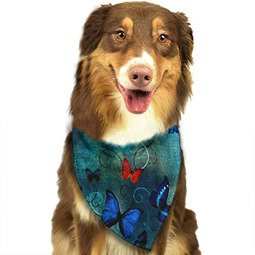 OURFASHION Butterflies On Blue by Lily Greenwood Bandana Triangle Bibs Scarfs Accessories for Pet Cats and -