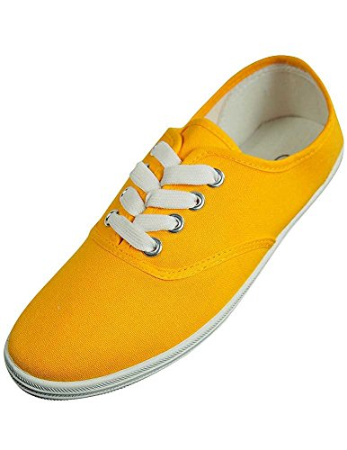 (Easy USA - Womens Canvas Lace Up Shoe with Padded Insole, Bright Yellow)