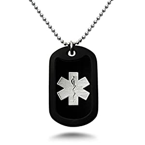 Medical Alert ID, Personalized Custom Engraved Medical Alert ID Aluminum Dog Tag Necklace