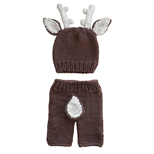 Child Deer Costumes (Jastore Newborn Baby Girls Boys Deer Crochet Knit Costume Photo Photography Prop)