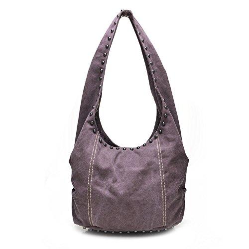 Bag Slouch Crossbody Boho Hippie Sling Canvas Aibag Purple Studded Hobo YwH7x88qa