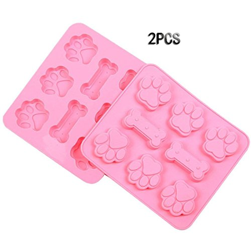 FashionMall Silicone Chocolate Molds Set -2 pcs Dog Bone and Paw Molds for Puppy Treats, Ice Cube Trays Candy Molds (6 Cavity+Bones) (Polymer Clay 1')