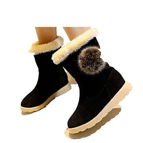 Women's Fashion Snow Boot Winter Warm Flat Round Top Cute Ball For Student Wedge Ankle Boot By Btrada