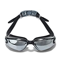 Swimming Goggles Mirrored Anti Fog UV Protection Waterproof With Free Case For Swimming,Quick Adjusting Silicone Head Strap Flexible Nose Bridge Tinted Lenses Comfortable For Adult Youth (Black)