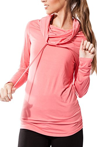 Sternitz Fitness Womens Shirt, Bhakti Hoodie, Perfect for Pilates, Yoga and Any Sport, Bamboo Fabric, Ecological and Soft. Long Neck. (Medium, Pink)