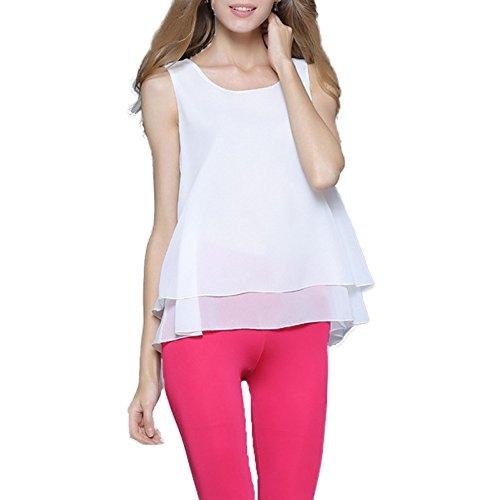 Hilinker Women's Casual Scoop Neck Double Layered Chiffon Tank Top Sleeveless Blouse Shirt Plus Size (Medium, White) (Layered Chiffon Blouse)