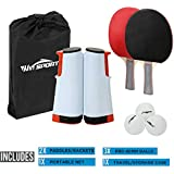 Win SPORTS Ping Pong Paddle Set with Retractable Net|Set of Play Anywhere Ping Pong Net for Any Table,2 Table Tennis Paddle& Rackets,3 Balls,Storage Case|Set with Retractable Table Tennis Net